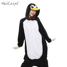 Pinguin Kigurumi Onesie Frauen Pyjama Erwachsene Ganze Tier Cosplay Kostüm Schlafanzug Flanell Maskottchen Party Winter Warme Nachtwäsche