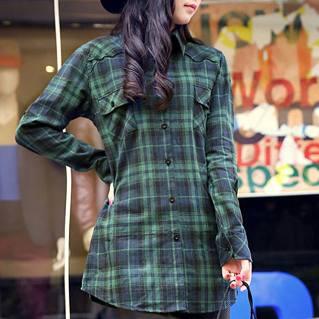 2015 Flannel Shirt Women Cheap Turn-down Collar Long Sleeve Green Cotton Checked Plaid Shirts for Ladies chemise blouse femme