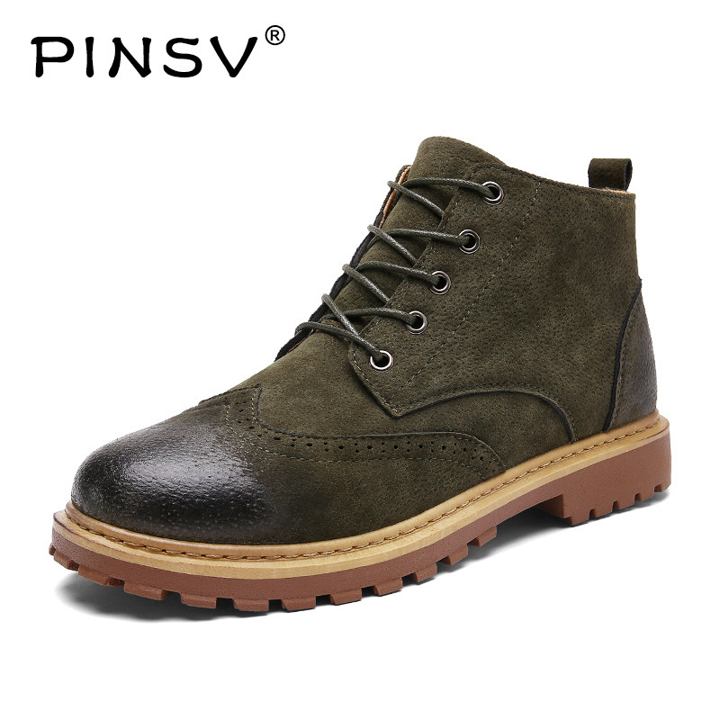 PINSV 2018 Winter Men Martin Boots Fashion Warm Mens Brogue Shoes Lace-Up Brush Leather Men Ankle Boots botas de hombre men martin boots 2018 fashion lace up warm winter shoes men ankle boots non slip men snow boots botas de hombre