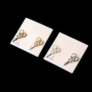 New arrivals New arrivals Small compact Simple small Simple gold and silver Colour scissors Women's fancy jewelry earring