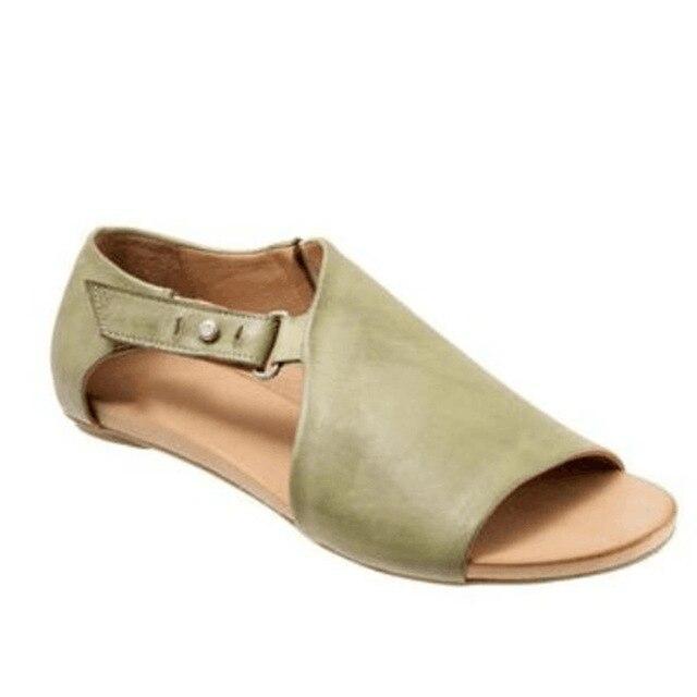 Nova Fêmea de Couro Sandálias Das Mulheres Plataforma Plana Sapatos Casuais Sapatos de Verão Chinelos de Praia Sapatos Zapatos Mujer Plus Size 35-43