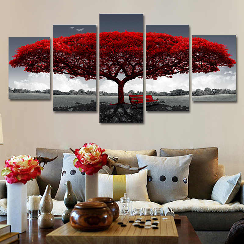 Prints On Canvas Canvas Frame Pictures 5 Pieces Red Tree Red Bench Landscape Living Room Home Decor Wall Painting Poster