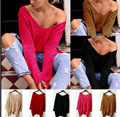 New Women Casual Basic Autumn Winter Sweater knitted T-shirt Top Shirt Tee V-neck Full Sleeve blusas Plus Size