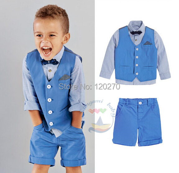 3928a79626e1 Free Shipping Summer Baby Boys Gentleman Bow Tie Vest Waistcoat Shirt  Shorts Pants Clothes Suit Toddler Children s Outfits Sets