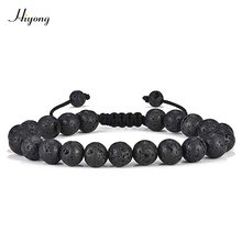 Bead Bracelets for Mens 8mm Natural Lava Rock Stone Essential Oil Diffuser Bracelet Yoga Beads Bangle