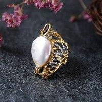 Ретро тайский серебряный Серебряные ювелирные изделия изготовление на заказ Новый инкрустация большая жемчужина кольцо на шею из жемчуга