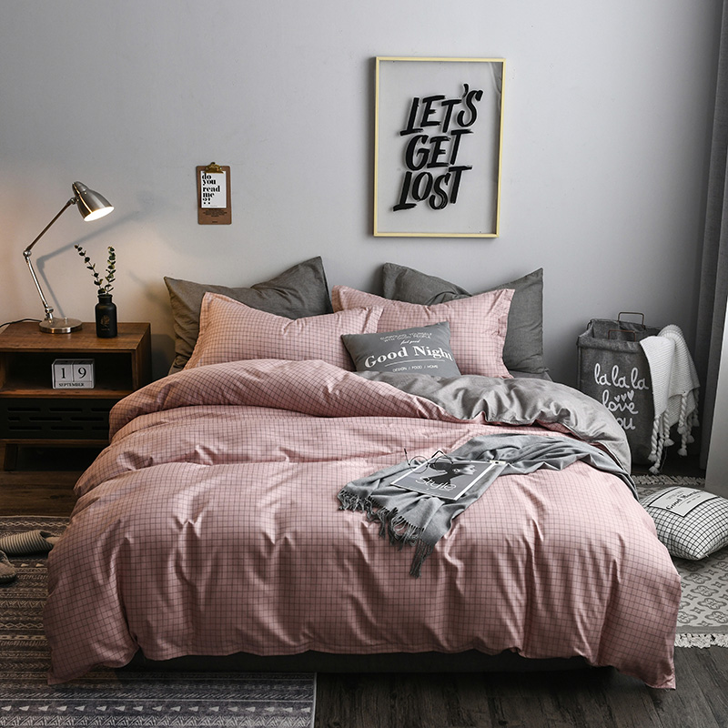 US $20.68 |2019 New Luxury Pink Plaid Bedding Set Cotton Solid Color Brife  Modern Bed Comforter Queen King Size 4pcs Duvet Cover Sheet Set-in Bedding  ...
