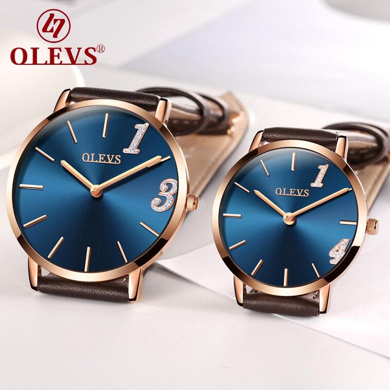 OLEVS lovers watches Women Men couple Quartz Wrist