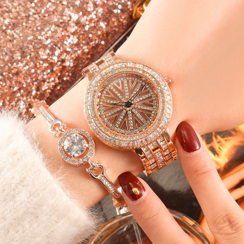 Cool Authentic Goddess Waterproof Rotating Quartz Watch Multi Layer Inlaid Watch Stylish Steel Belt Full Drill Disc Watch in Women 39 s Watches from Watches