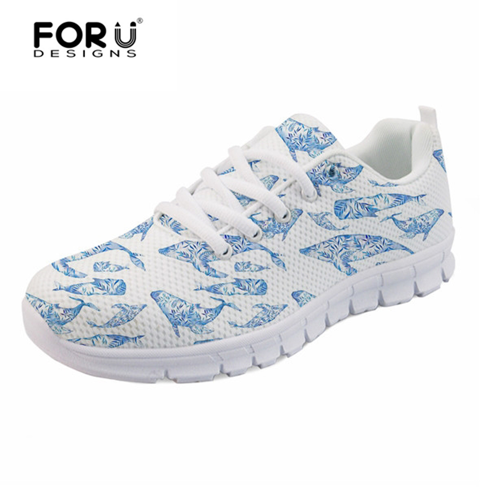FORUDESIGNS Shark Dolphin 3D Cute Cartoon Sneakers Woman Light Weight Lace-up Flats Shoes for Female Breathable Mesh Shoes Women instantarts fashion women flats cute cartoon dental equipment pattern pink sneakers woman breathable comfortable mesh flat shoes