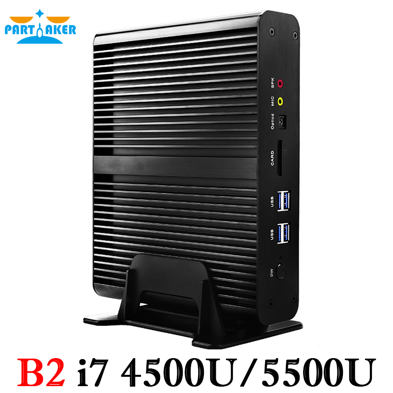 On Sale!Partaker B2 Intel Dual Core I7 5550U I7 4500U I7 4558U Dual Lan Fanless Mini PC partaker b2 windows mini pc i7 barebone htpc fanless computer broadwell 5gen core i7 5550u with 300m wifi i7 4500u