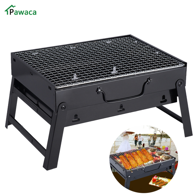 Folding Stainless Steel Picnic Camping Charcoal BBQ Grill Adjustable  Portable Garden Barbecue Grill Broiler Outdoor Cooking