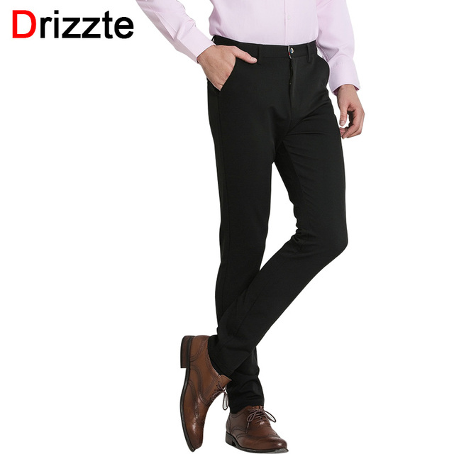 Drizzte Quality Mens Classic Black Stretch Casual Formal Dress Pants Trousers Black Size 32 33 34 36 38