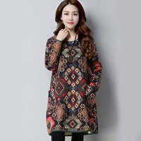 Womens Vestidos Dress 2017 Autumn Winter Vintage Print Long Sleeve Pockets Casual Loose Cotton Linen Short