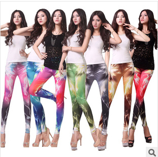 New <font><b>2013</b></font> Women <font><b>Sexy</b></font> Hot Aurora Sky Hex Color Galaxy Lightning Color Black Green Leggings Space Printed Pants Sale Plus Size L04 image