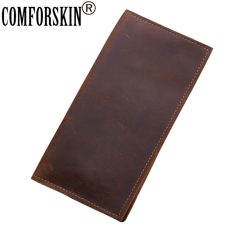 COMFORSKIN Billetera Masculina Genuine Crazy Horse Leather 2018 New Arrivals Men Wallets Hot Brand Male Purses High Quality brand double zipper genuine leather men wallets with phone bag vintage long clutch male purses large capacity new men s wallets