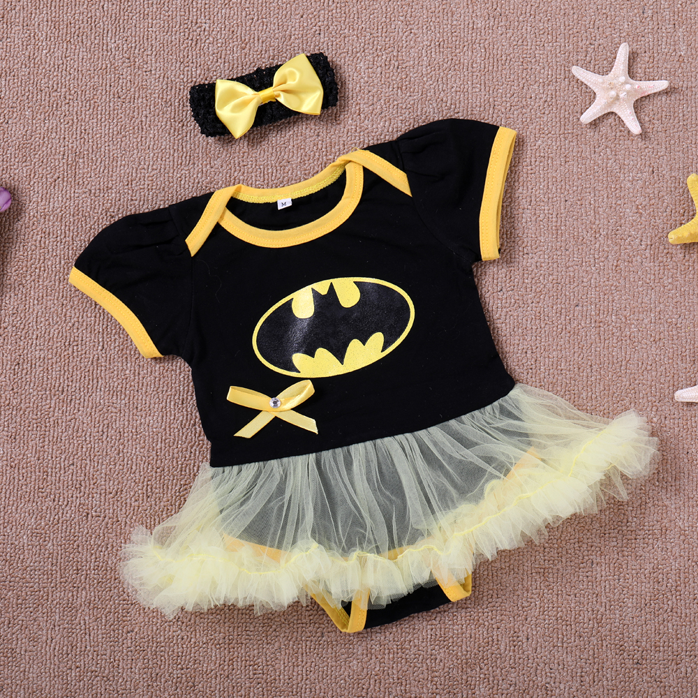 Newborn Baby girls Romper Summer Short Sleeve Batman Jumpsuit Infant toddle kids Birthday Party Kids clothes
