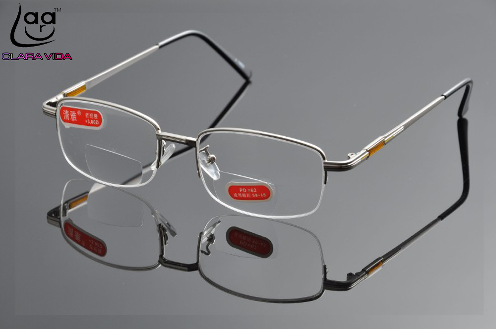 bifocal glasses fei0  =CLARA VIDA= Bifocal Glasses Half-Rim Advanced Electro-Plating Alloy Men  Women