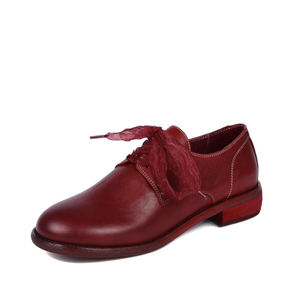 Femmes Rouge Pour Chaussures Cuir Femme forme Plate Oxford Casual Noir Black Dentelle red En Printemps Automne Véritable Appartements Aiweiyi Jusqu'à La qIX8gnYw