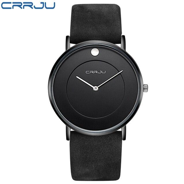 f1eca17057d Super fino Quartz relógio de Pulso Casual Negócios CRJU Marca Top de Couro  Genuíno Esportes Relógio