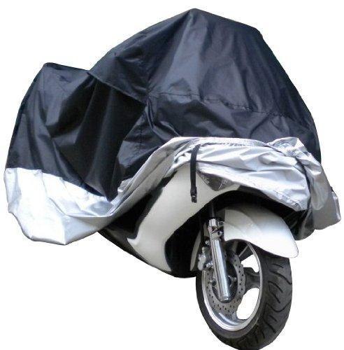 Black Silver Motorcycle Cover XL Large Size Waterproof Anti UV With Free Storage Bag Outdoor Touring Bike Cruiser Cover 180T