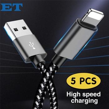 81055ac2411 E T 5 piezas 2.4A rápido Cable de carga de Cable USB cargador de teléfono  móvil Cable de cable de datos Usb para Cable de iPhone X XS X MAX XR 8 7 ...