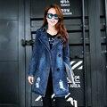 2015 primavera e inverno new casual moda Slim e seções longas blusão jaqueta jeans jaqueta jeans mulheres Moda natal sexy