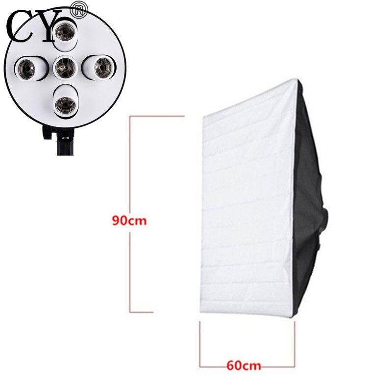 Lightupfoto Photo Video Studio 5 Socket with 60x90cm Softbox for Photo Video Light studio lighting softbox kits PSCSB5