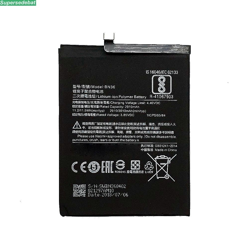 supersedebat 10pcs 100% 2910mAh BN36 li-ion <font><b>Battery</b></font> For Xiaomi <font><b>Mi</b></font> <font><b>6X</b></font> Replacement <font><b>Batteries</b></font> Accumulator bateria wholesale image