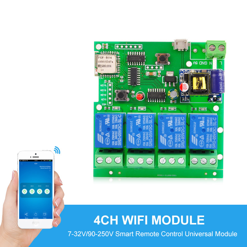 4CH RF Wireless Switch home Automation Modules Smart Remote Control Universal on/off Timer Switch DC 5V 12V 32V 220v 10A hyaluronic protein интенсивно увлажняет и питает восстанавливает водный баланс 10х3мл invit