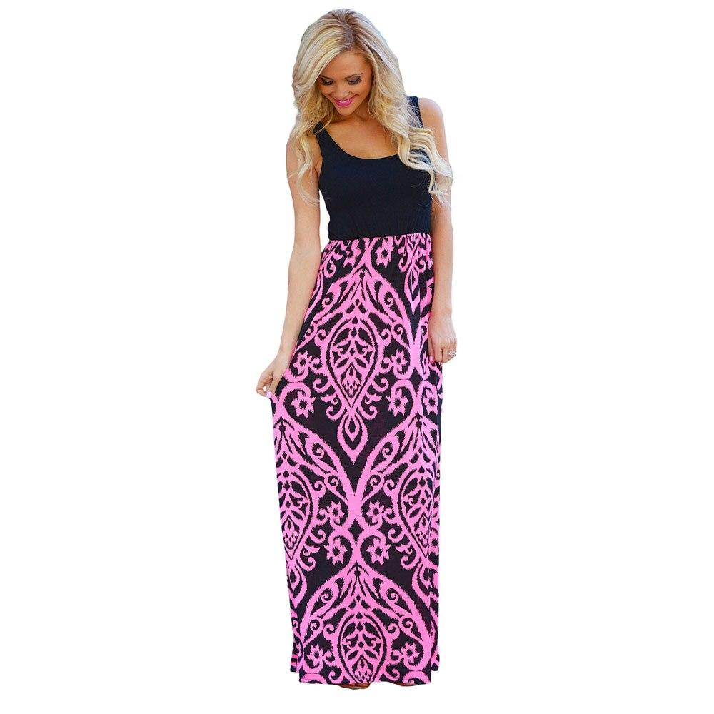 Fg50231 In Drucken Kleid Frauen Sommerkleid Strand Für Damast Sleeveless 62fgirl Maxi Us20 Weste Lange Boho Vestidos mN0v8nw