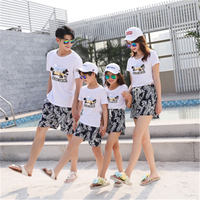 Family Matching Outfits Seaside holiday beach set home decoration family fitted summer three three family travel suit