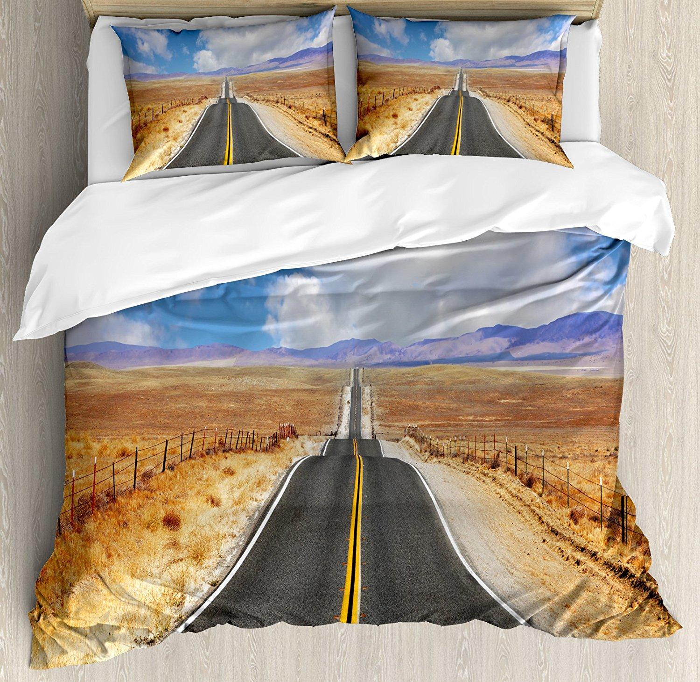 Соединенные Штаты постельное белье King Размеры шоссе в Калифорнии степи и облака асфальтированная дорога горизонт Hills путешествие, многоцве