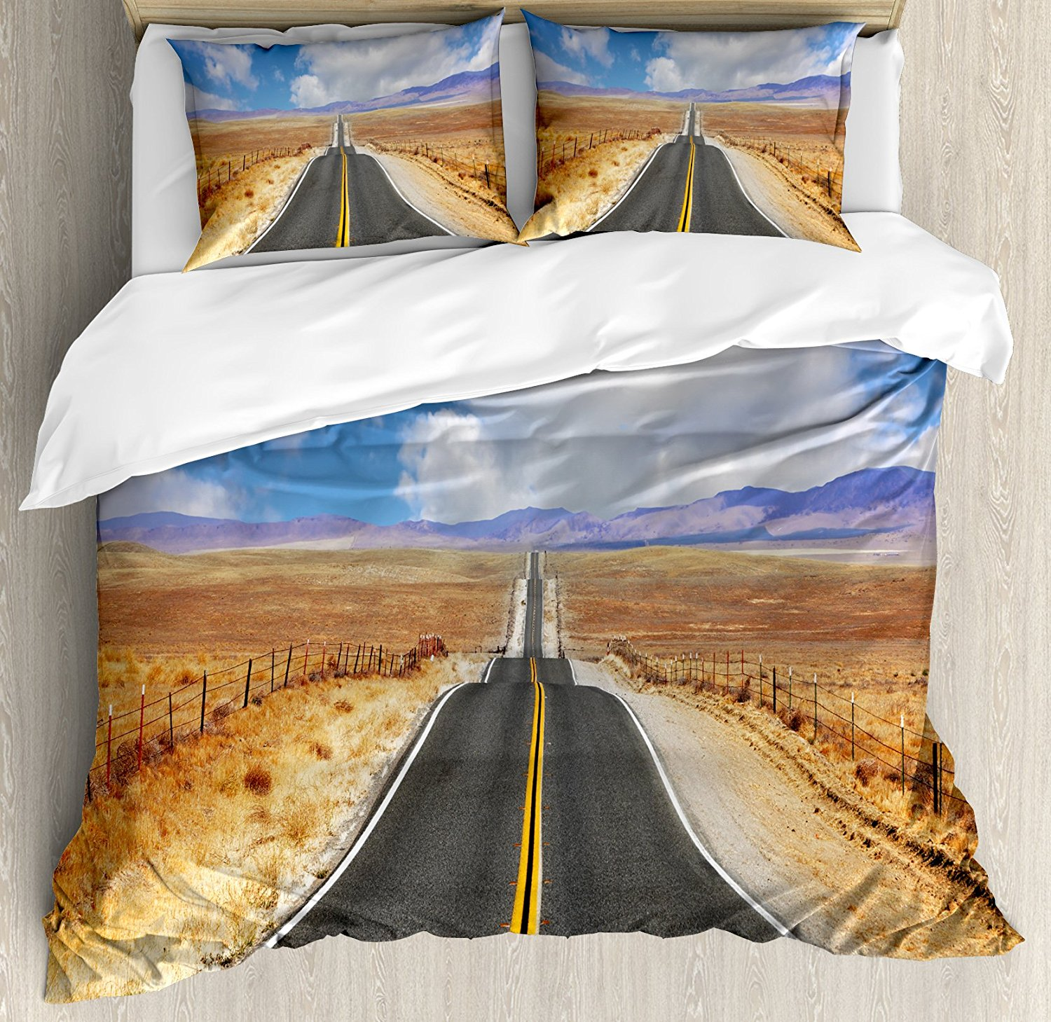 United States Duvet Cover Set King Size Highway in California Steppe and Clouds Asphalt Road Horizon Hills Journey, Multicolor