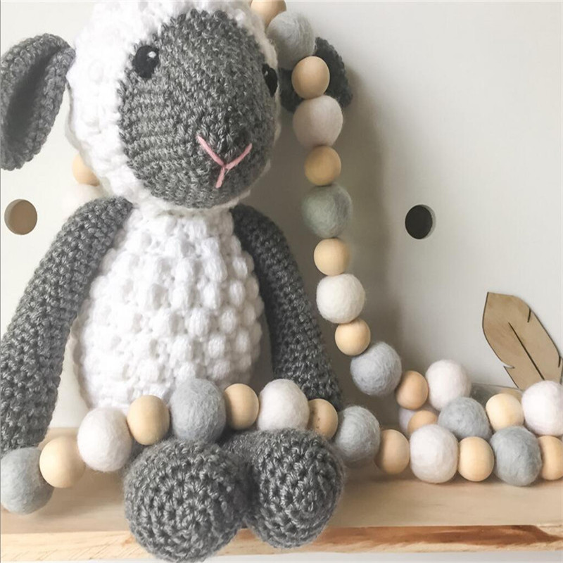 60 stks Crib Bed Opknoping Decoratie Baby Opknoping Houten Kralen Guirlande Kerst Beste Kids Geschenken Stijl Nursery Babykamer Ornament