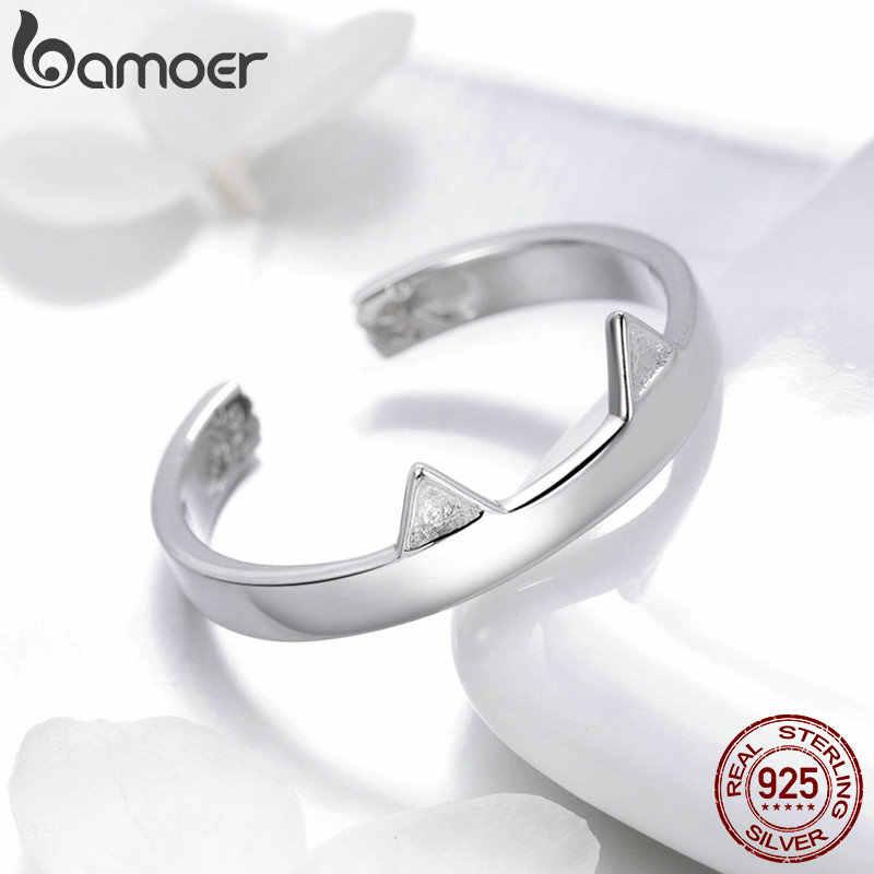 BAMOER moda 925 Plata de Ley orejas Linda Pata de Gato forma Animal anillos de dedo ajustables fiesta boda joyería fabricación SCR387