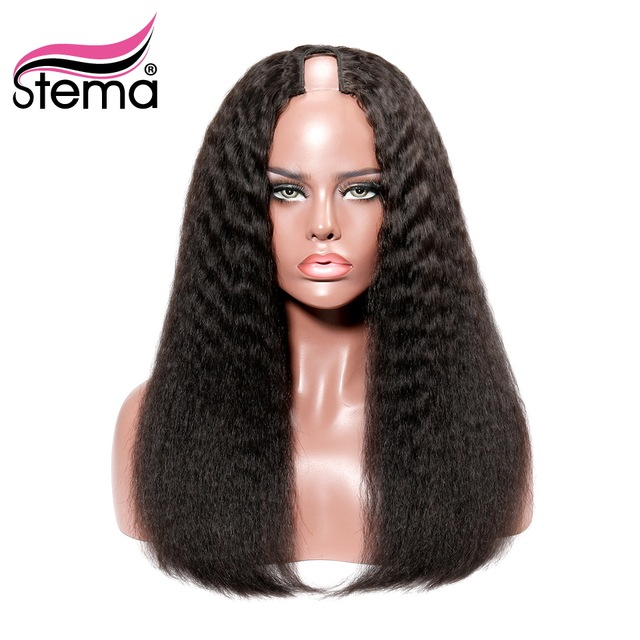 Stema Kinky Straight Middle U Part Human Hair Wigs 250% High Density Brazilian Remy Hair Wig Medium Size Cap Free Shipping