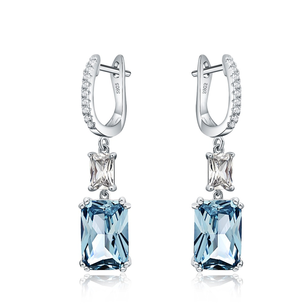 Luxury Sky Blue Color Long Drop Earrings Solid Silver Zircon Crystal Female Big Jewelry Accessories Gift with English Lock