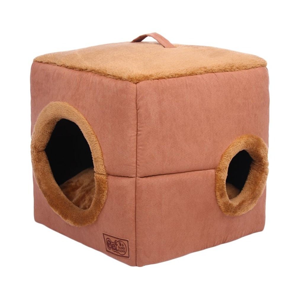 Winter Cube-shape Dog Cat Bed Plush Windproof Warm Soft Pet House Portable Comfortable Pets Sleeping Bag With Round Hole