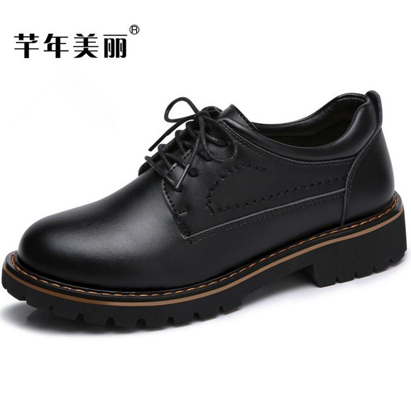 New black Martin shoes Fashion spring Women shoes Flats casual Oxford shoes Female obuv zapatos mujer 2017 spring autumn new genuine leather lace up oxford shoes female thick bottom flats shoes europe style martin shoe obuv