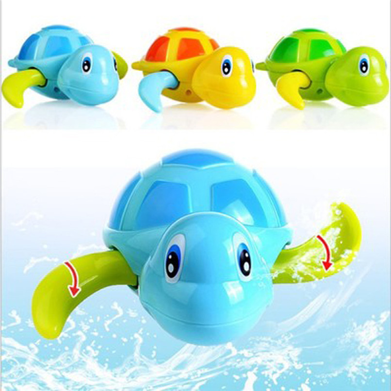 Dabbling Toy Random Color Cartoon Plastic Tortoise Wind Up Clockwork Toy Baby Bathing Shower Toys suit for tub or pool JE19#F