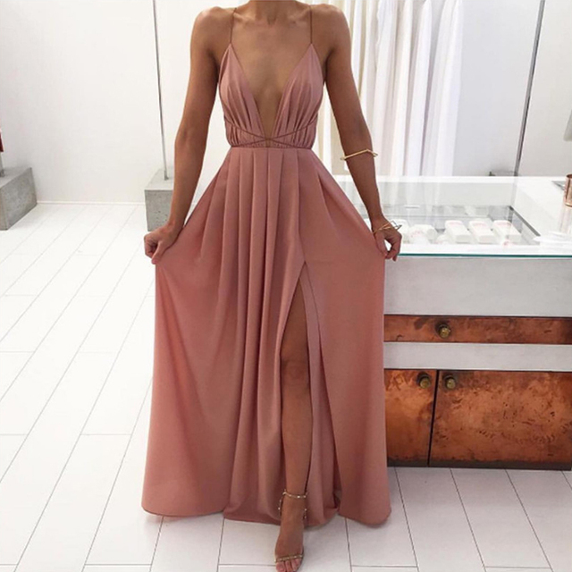 Summer Maxi Dress Women Solid Sexy Deep V-Neck Sleeveless Spaghetti Strap Backless High Split Long Sundress Vestidos 1