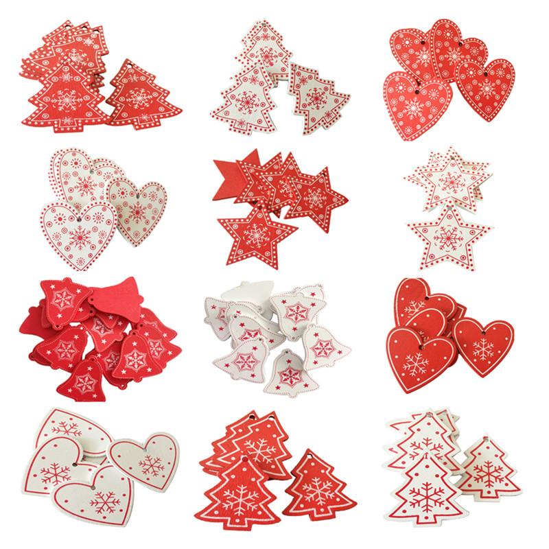 New Year 2020 Christmas Snowflake Wooden Pendant Xmas Tree Decorations for Home Wood Hanging Crafts Navidad 2019 Noel Natal Deco 15