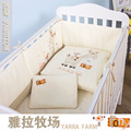 7Pcs/ Set Cotton Baby Bedding Set Embroidery pony with bird Crib Bedding Set Detachable Quilt Pillow Bumpers Sheet