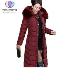Plus size Women Winter Coat Thicken warm Hooded fur collar Down Cotton Jacket Casual Solid color Middle-aged longer Coat Jackets