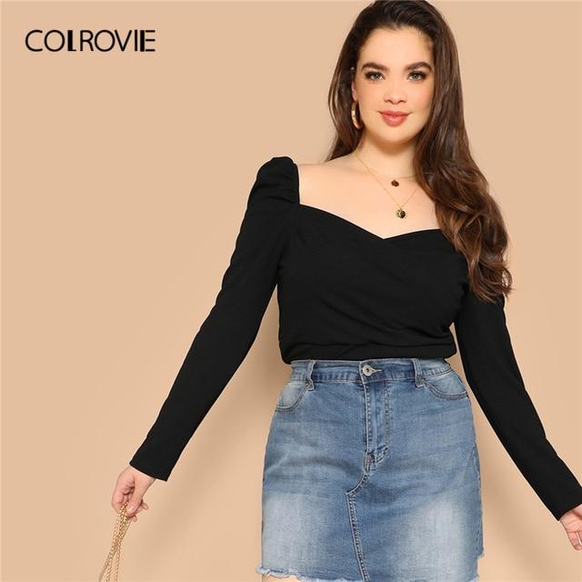 COLROVIE Plus Size Black Solid Sweetheart Elegant Women Blouse Shirts 2019 Spring Korean Puff Sleeve Office Ladies Casual Tops
