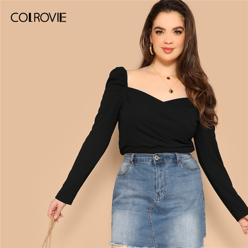 COLROVIE Plus Size Black Solid Sweetheart Elegant Women   Blouse     Shirts   2019 Spring Korean Puff Sleeve Office Ladies Casual Tops