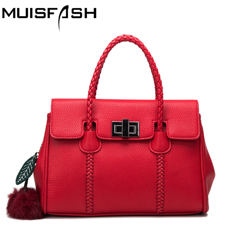 Muisfash genuine leather handbags women bag designer famous brand shoulder bags real leather messager bags free shipping LS1303 2016 famous designer brand bags women leather handbags new fashion genuine leather shoulder bag female luxury messager bag
