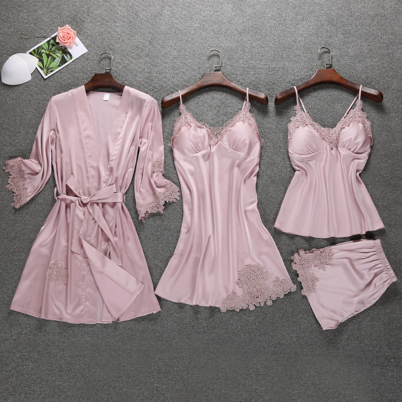 Satin Slik Sleep Lounge 4 Pieces Sleepwear Female Summer Sexy Women   Pajamas     Sets   Lace Indoor Clothing with Chest Pads