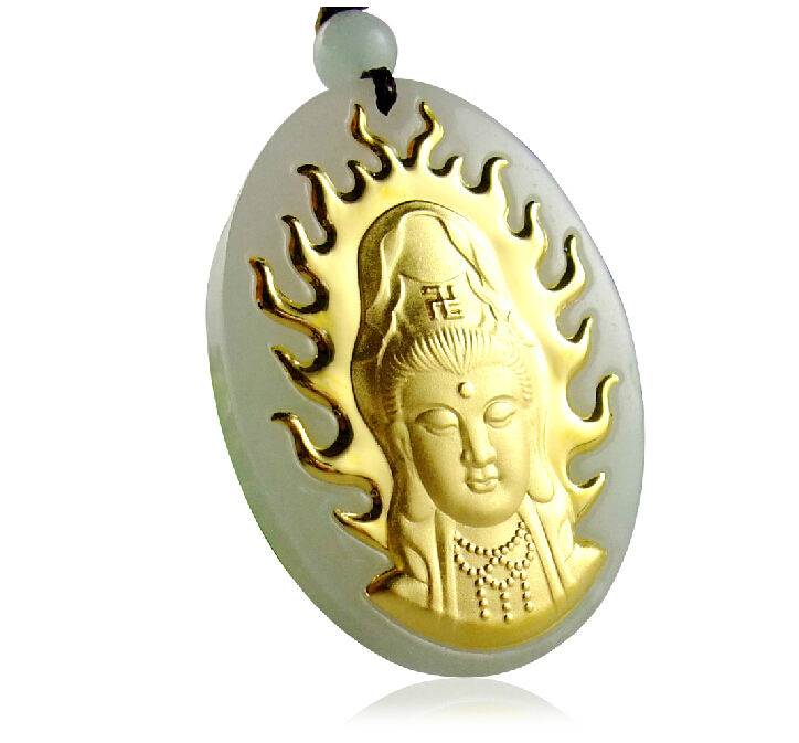 24K Yellow gold Natural Jadeite Carved Kwan-Yin Pendant